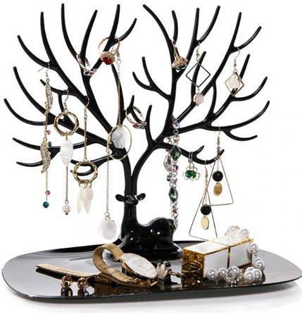 Stojak na biżuterię organizer - jeleń drzewko